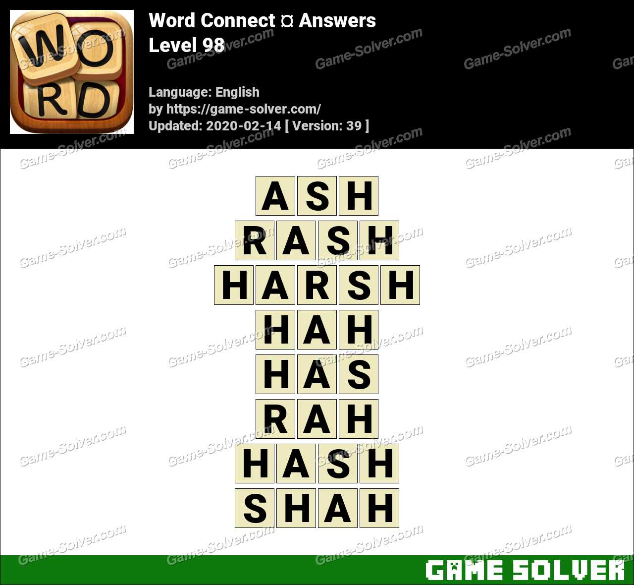 Word Connect Level 98 Answers