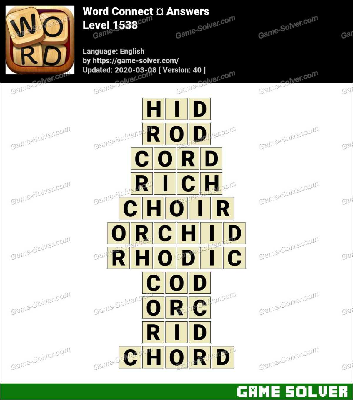 Word Connect Level 1538 Answers