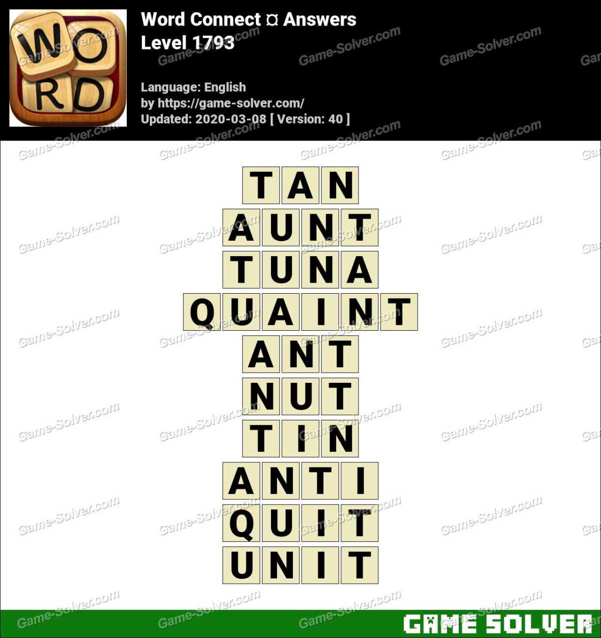 Word Connect Level 1793 Answers