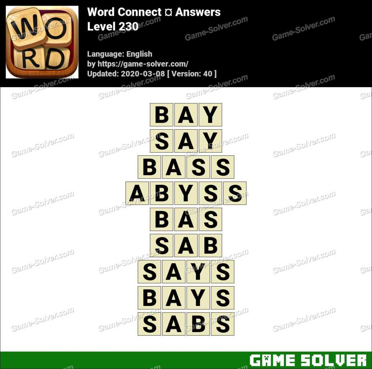 Word Connect Level 230 Answers