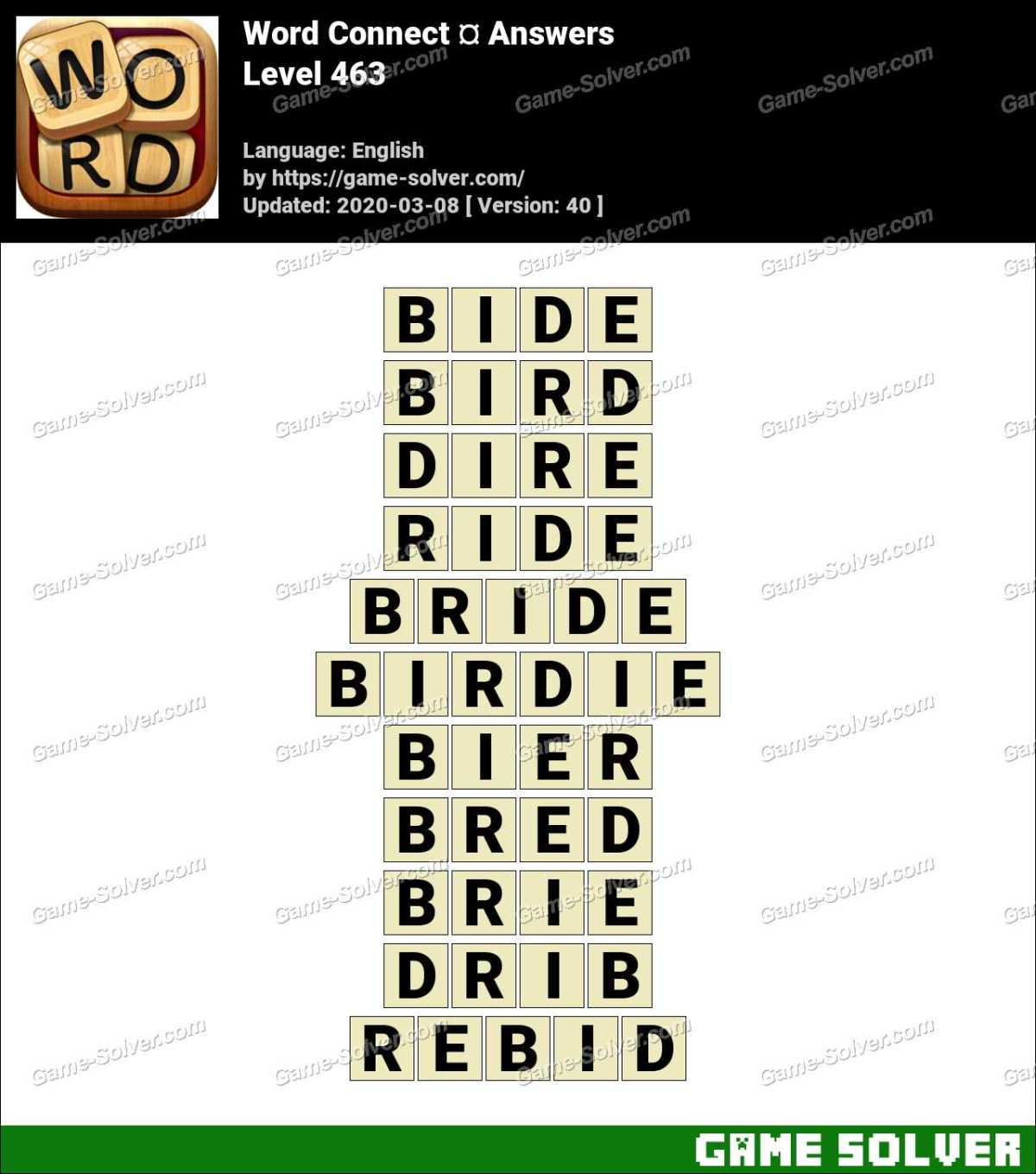 Word Connect Level 463 Answers