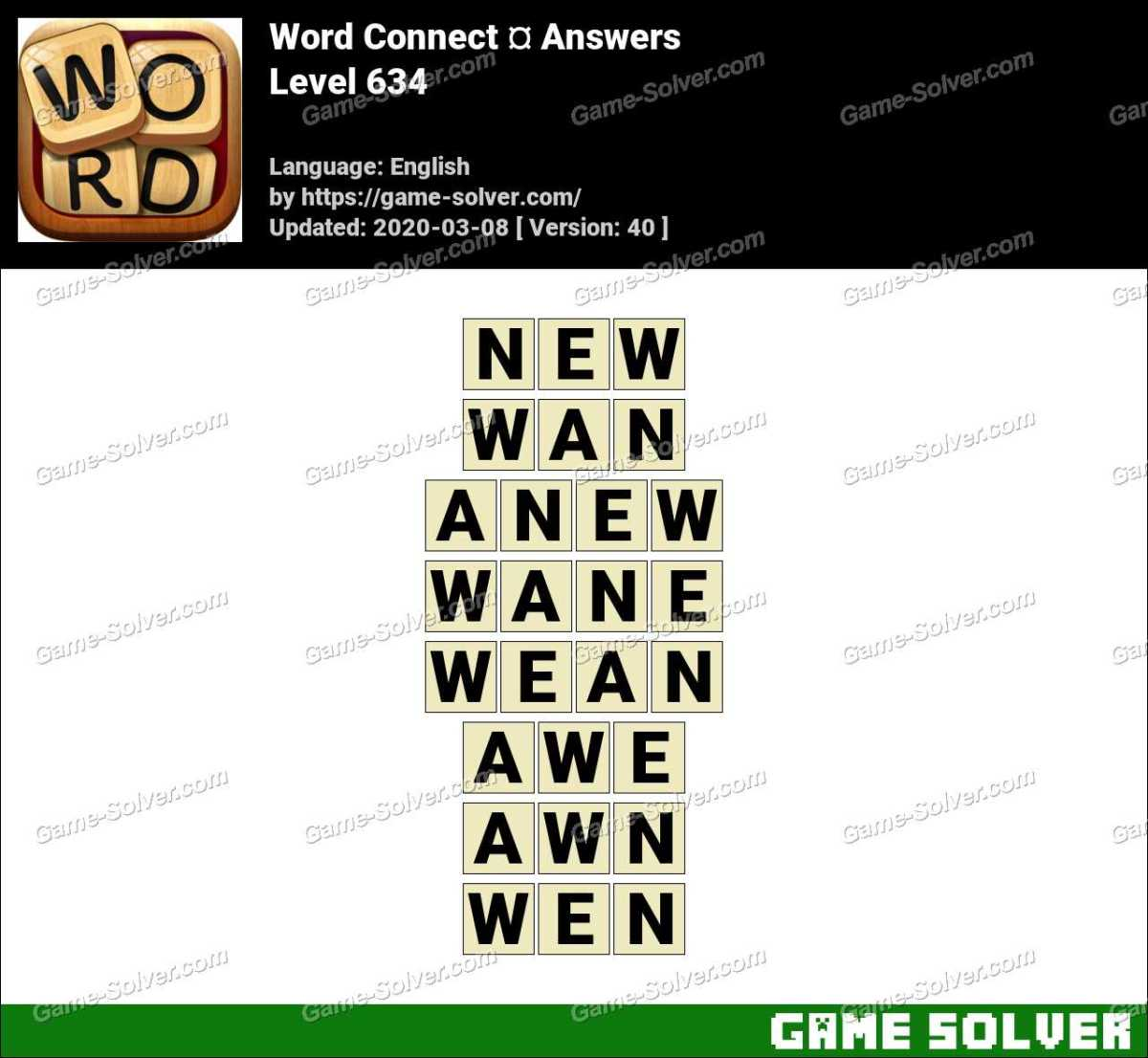 Word Connect Level 634 Answers