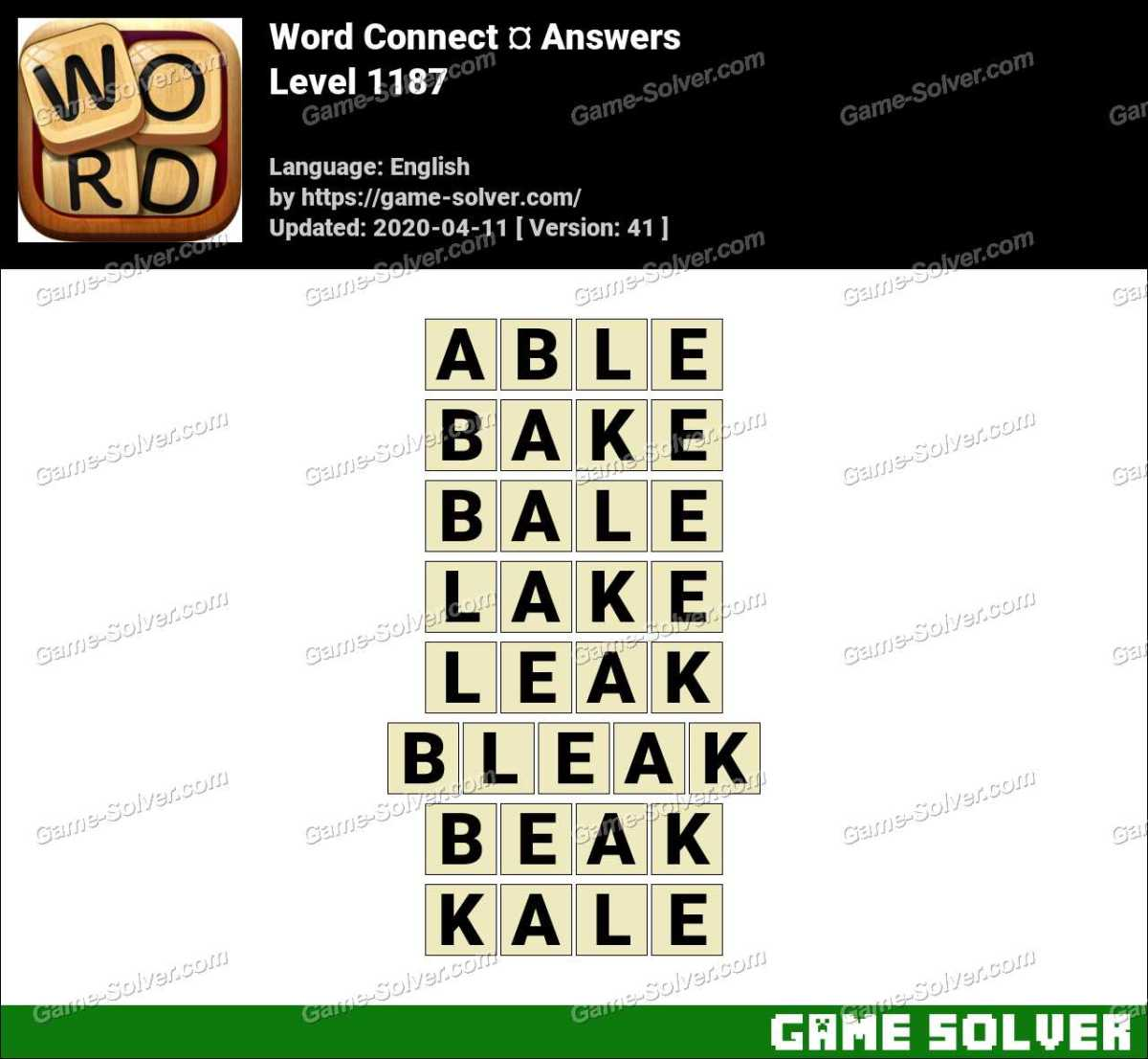 Word Connect Level 1187 Answers