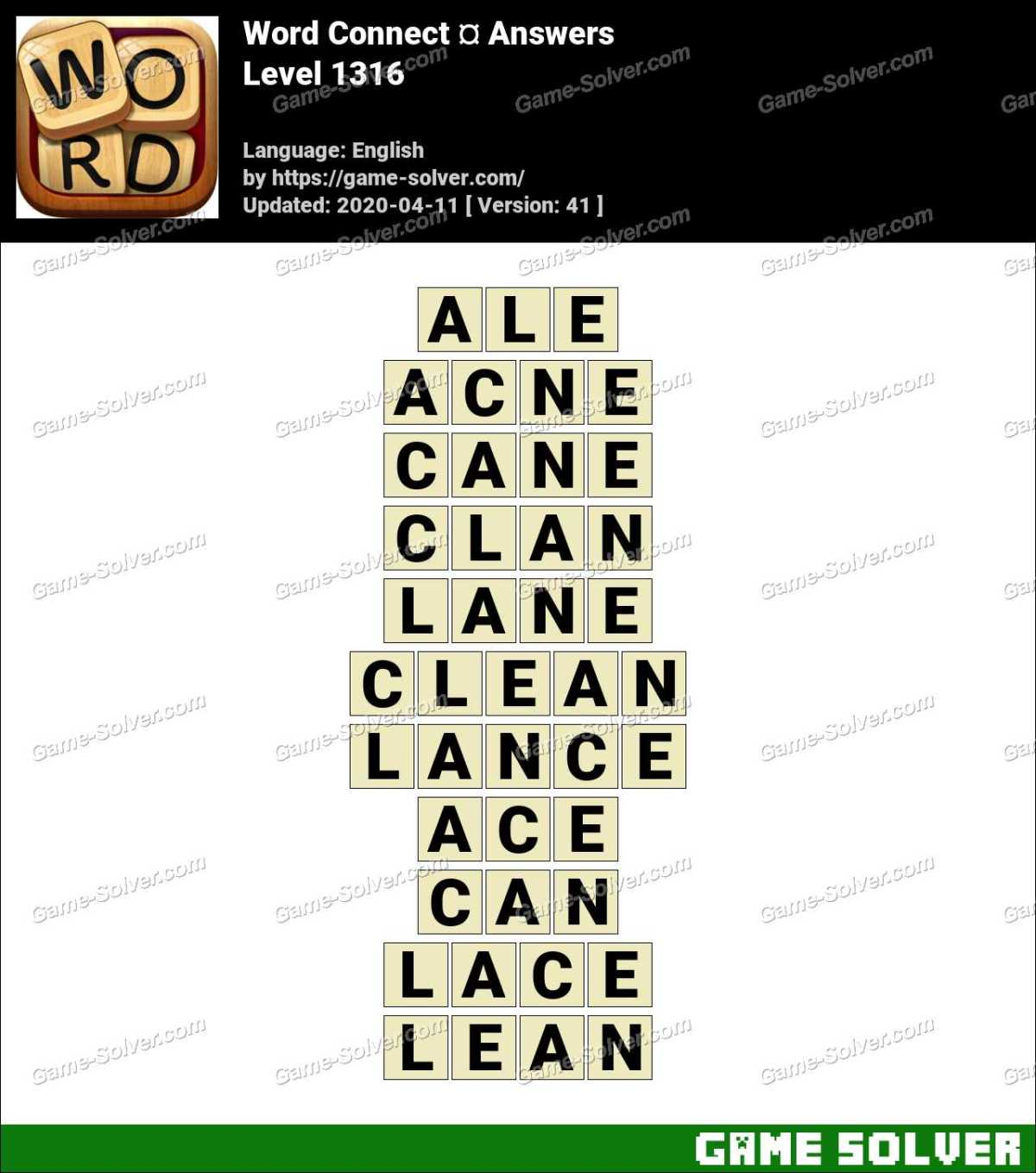 Word Connect Level 1316 Answers