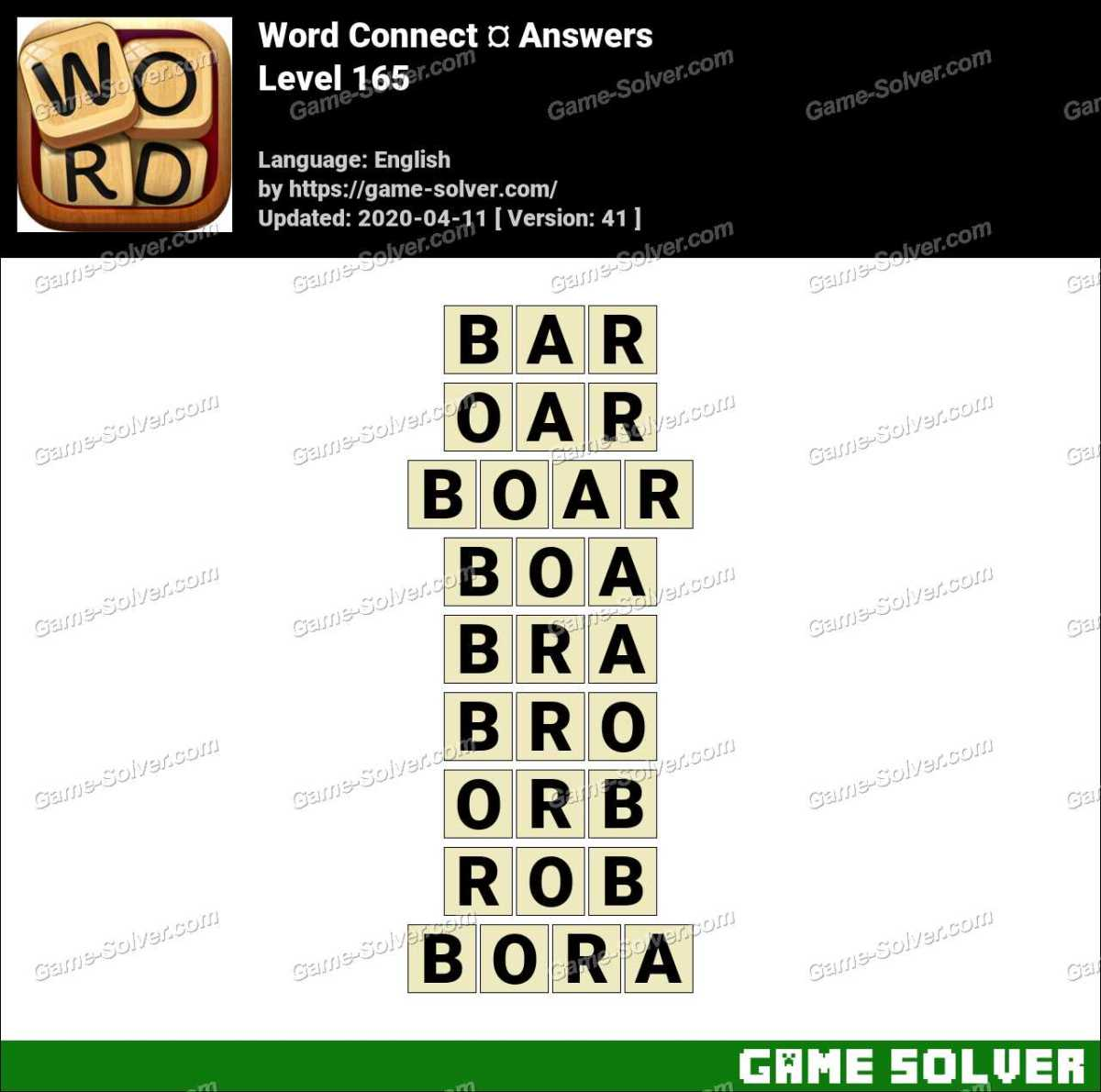 Word Connect Level 165 Answers