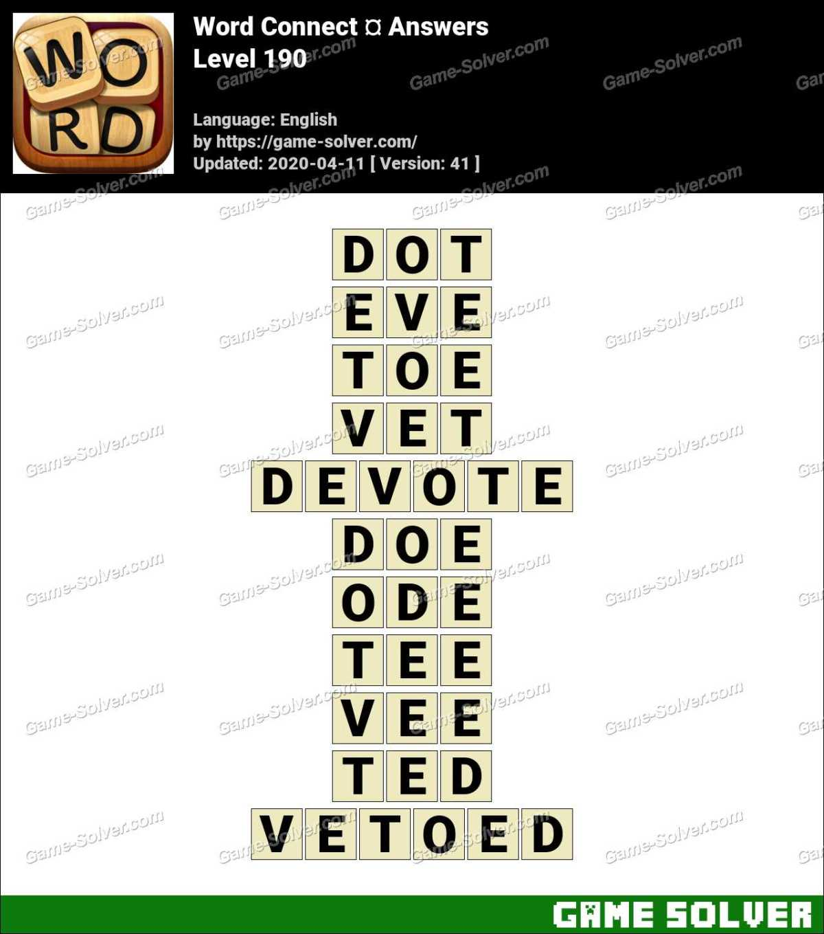 Word Connect Level 190 Answers
