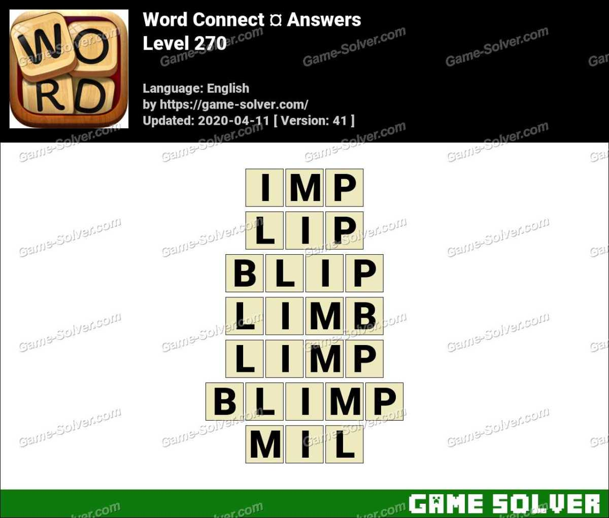 Word Connect Level 270 Answers