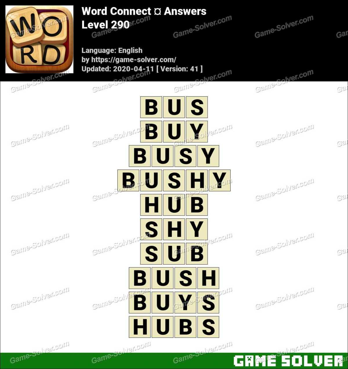 Word Connect Level 290 Answers