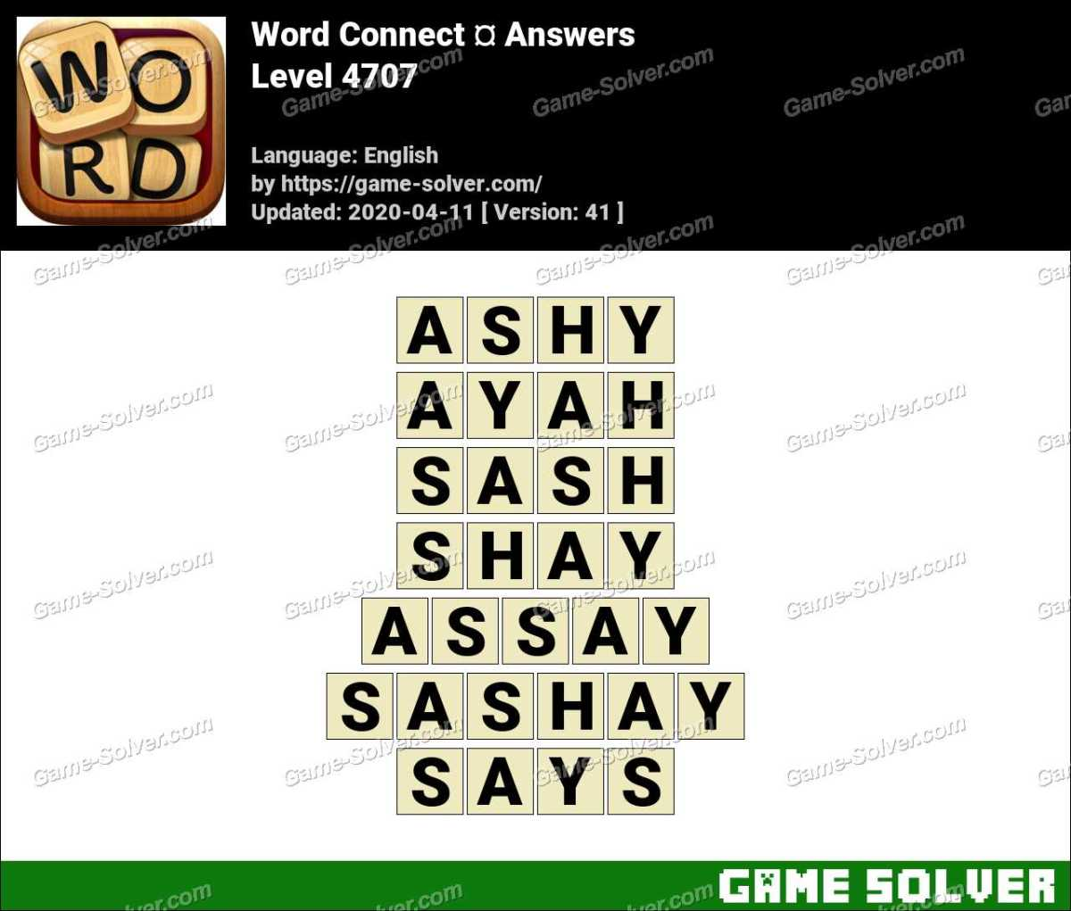 Word Connect Level 4707 Answers