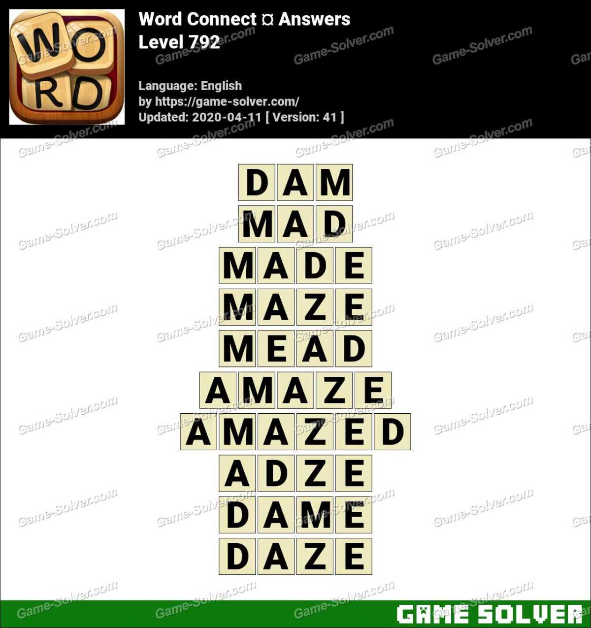 Word Connect Level 792 Answers