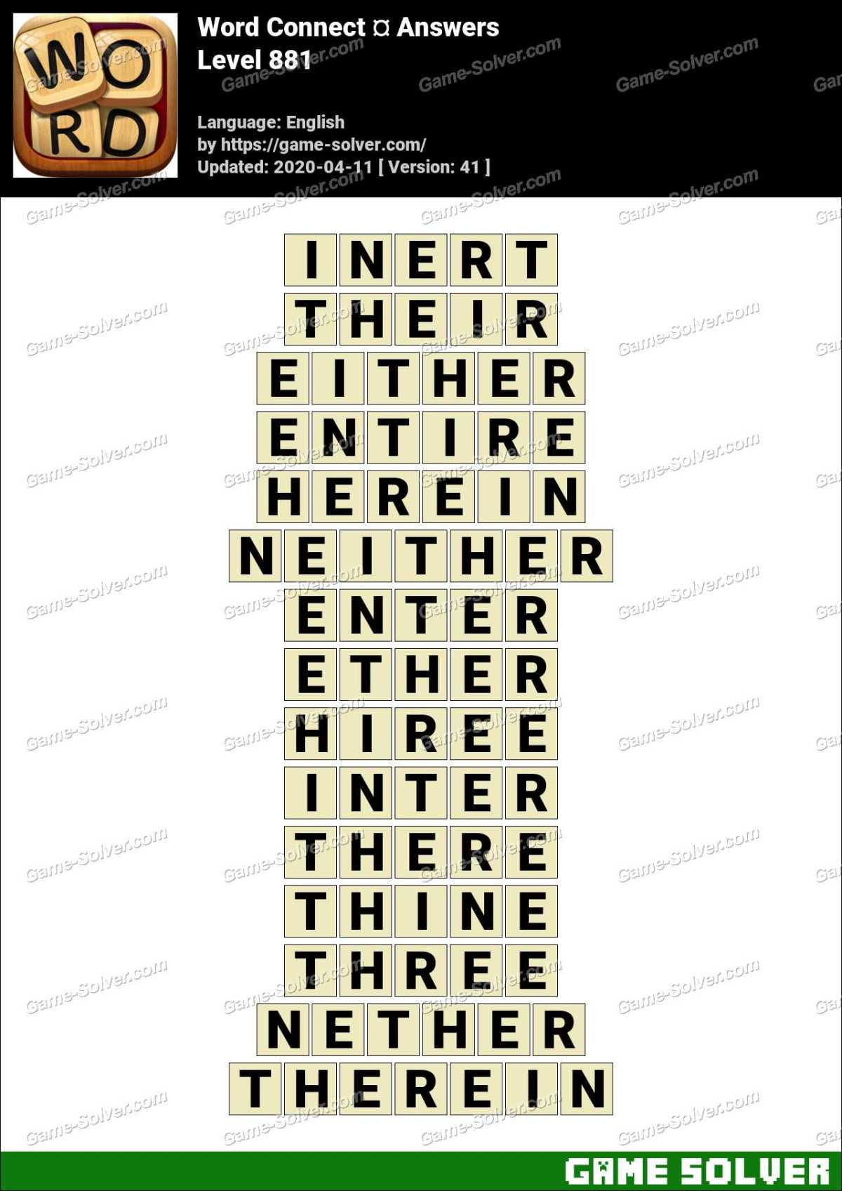 Word Connect Level 881 Answers