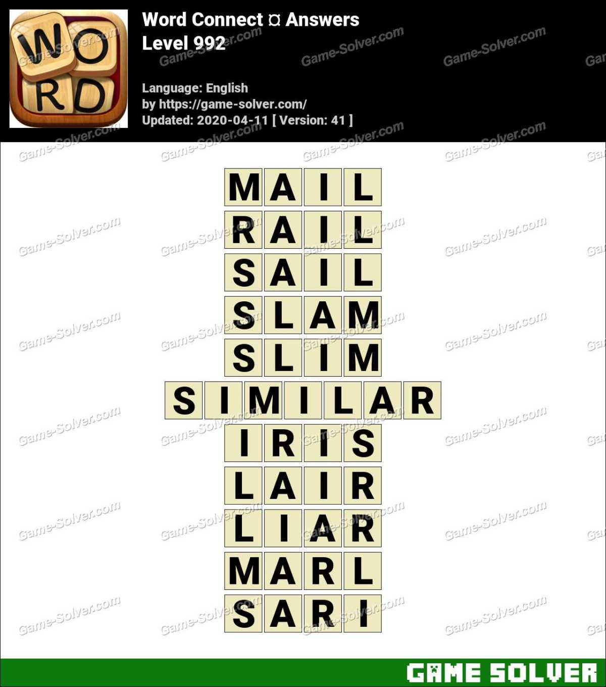 Word Connect Level 992 Answers