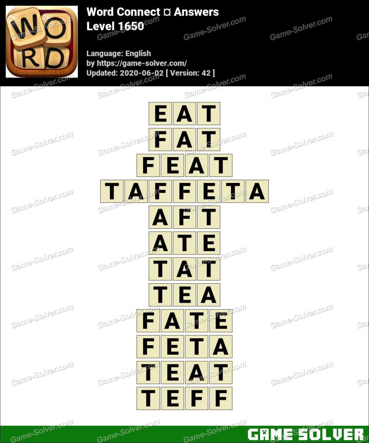 Word Connect Level 1650 Answers