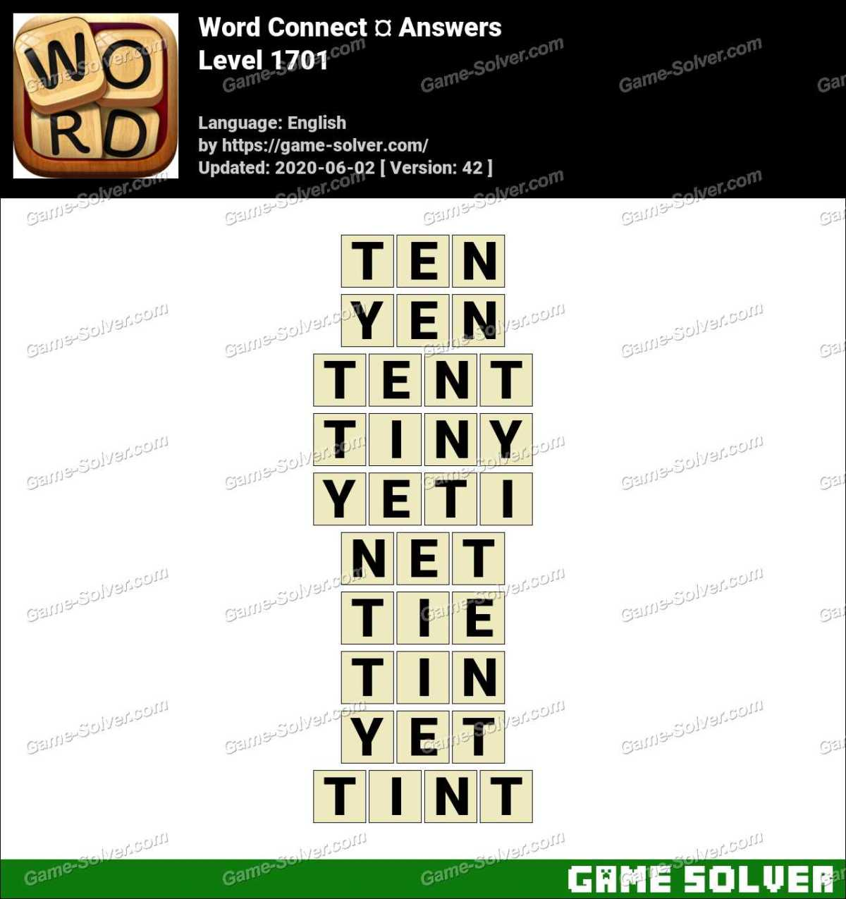 Word Connect Level 1701 Answers