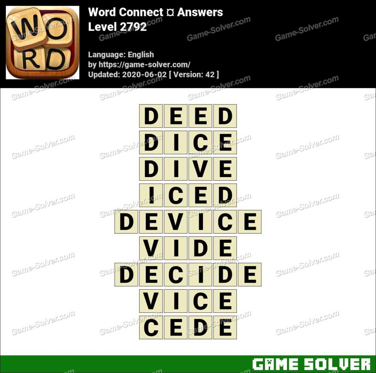 Word Connect Level 2792 Answers