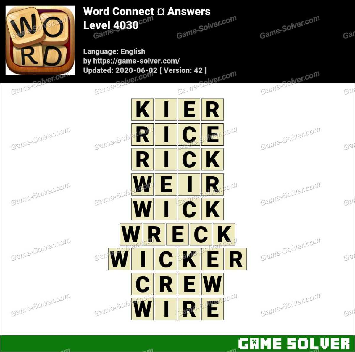 Word Connect Level 4030 Answers