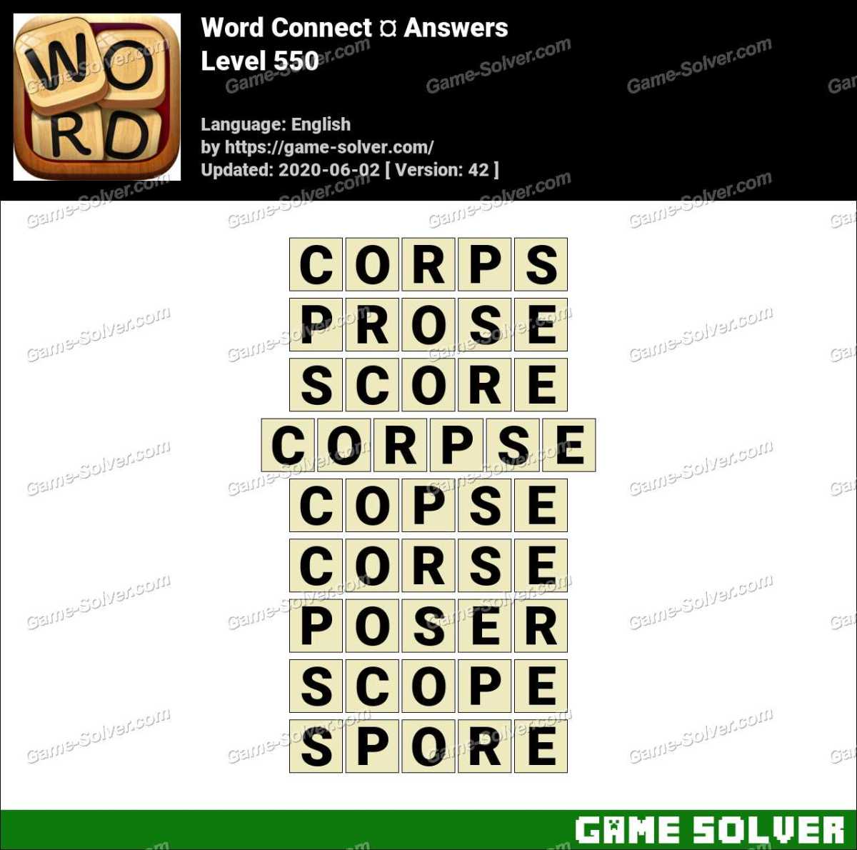 Word Connect Level 550 Answers