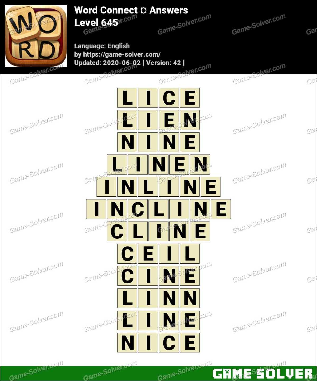 Word Connect Level 645 Answers