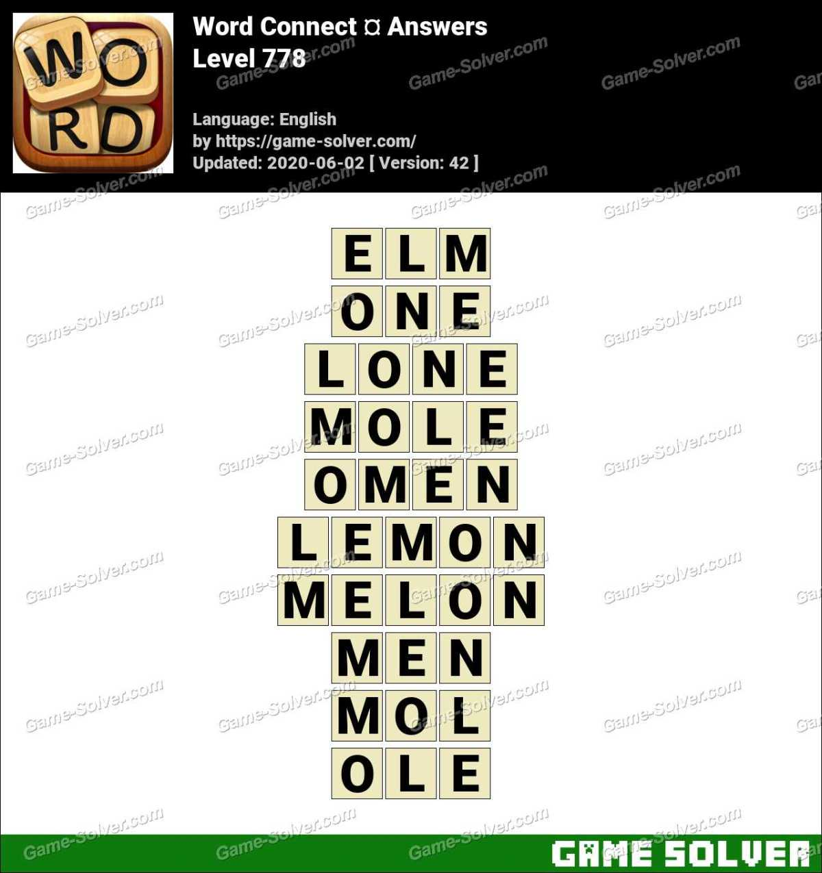 Word Connect Level 778 Answers