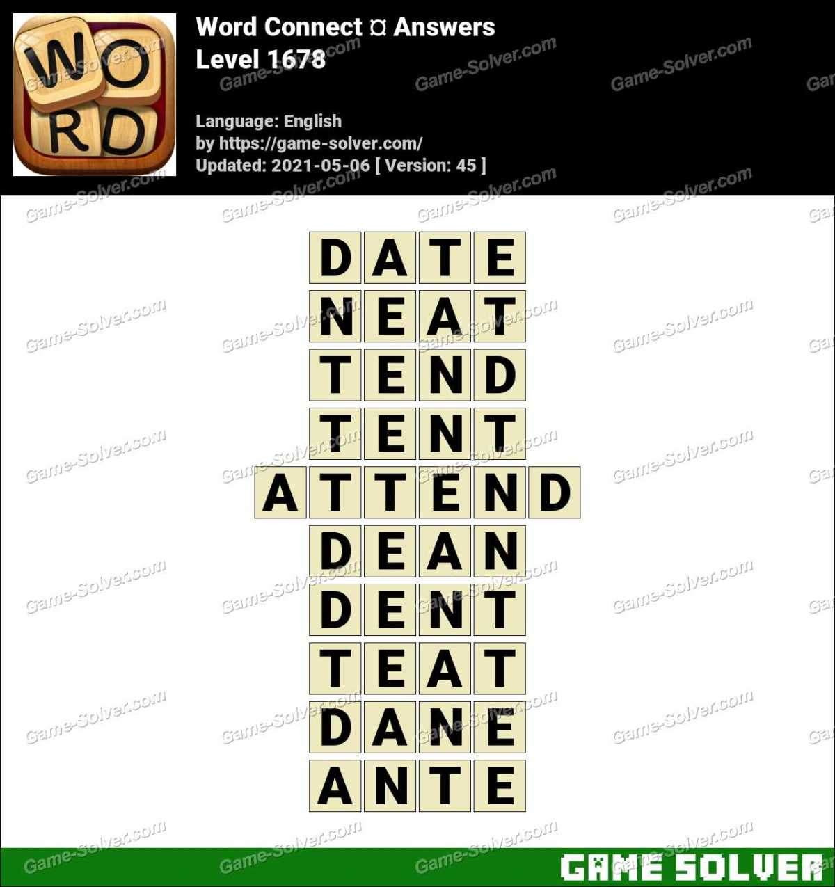 Word Connect Level 1678 Answers