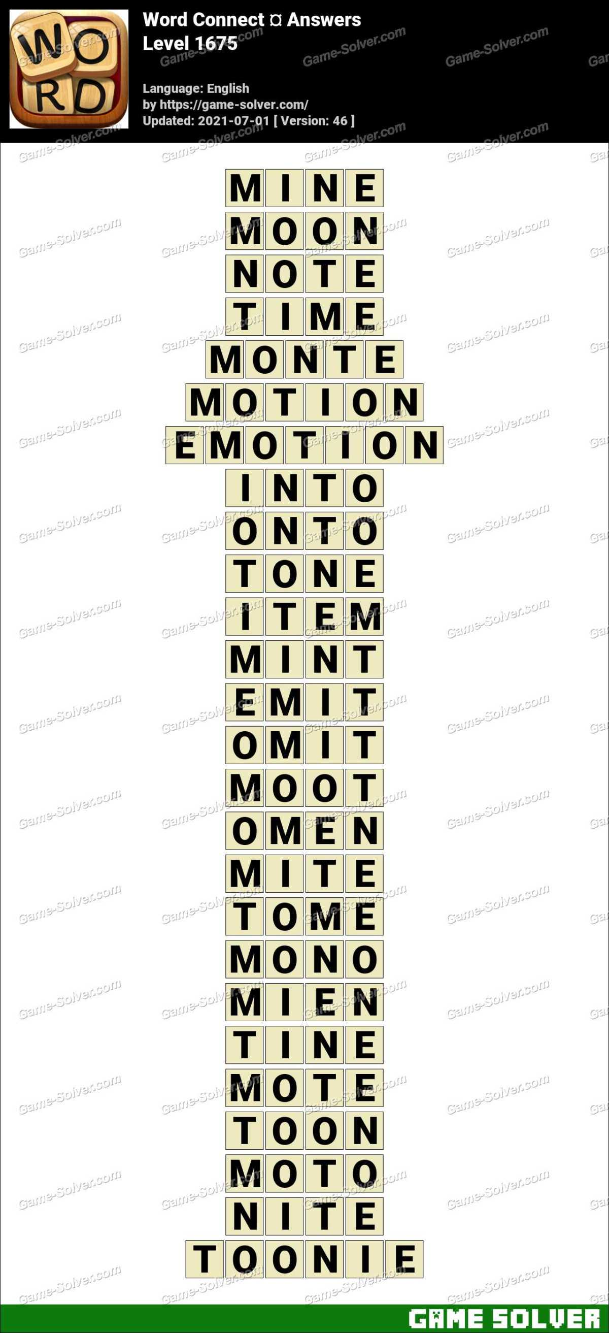 Word Connect Level 1675 Answers