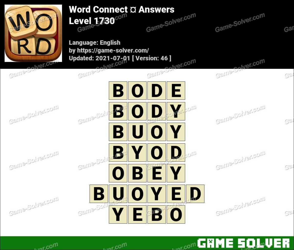 Word Connect Level 1730 Answers