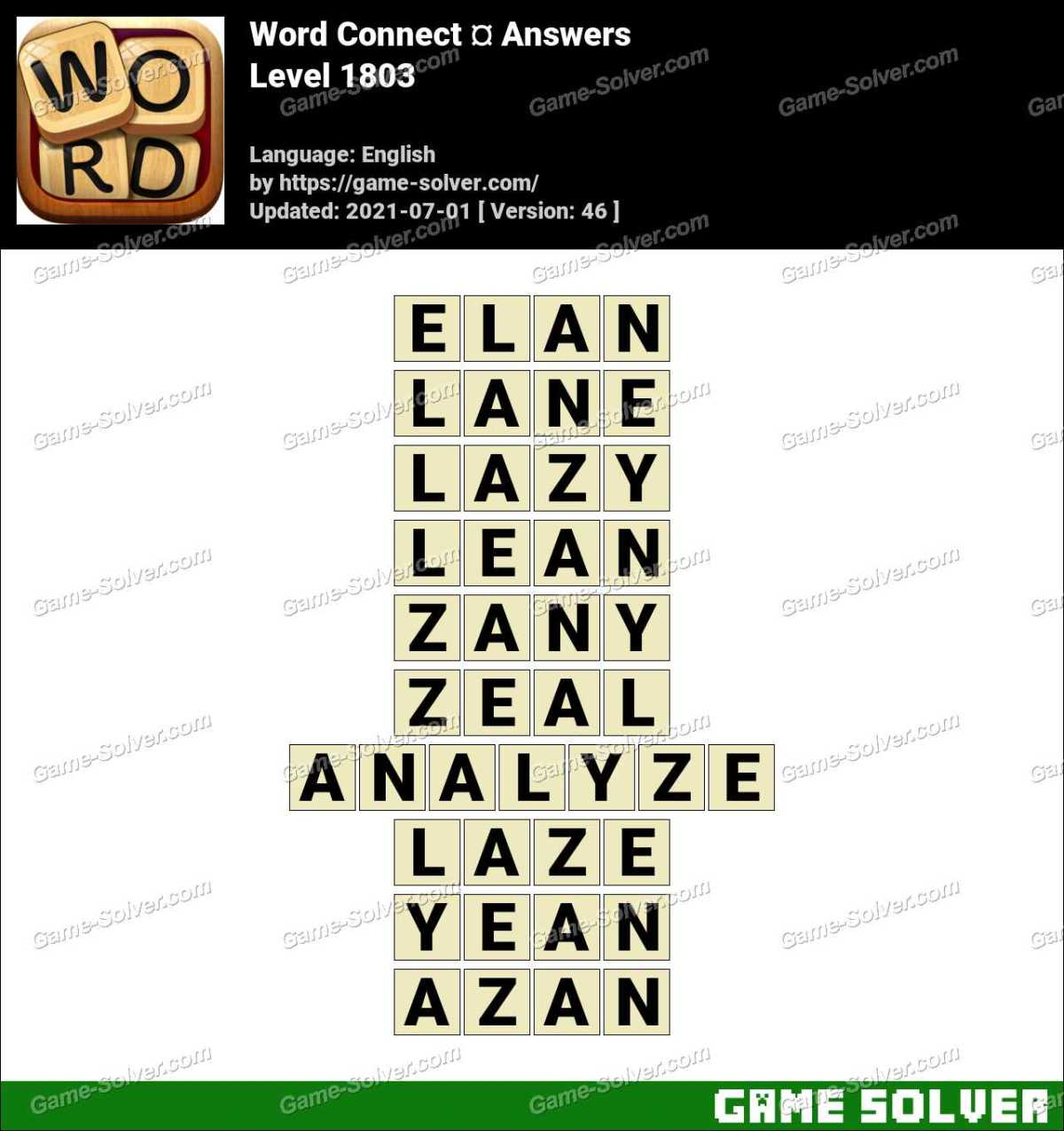 Word Connect Level 1803 Answers