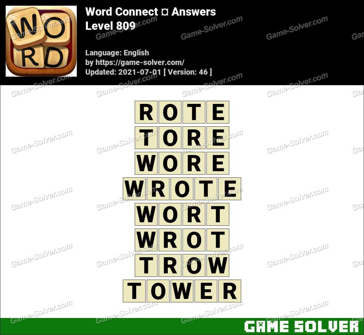 Word Connect Level 809 Answers