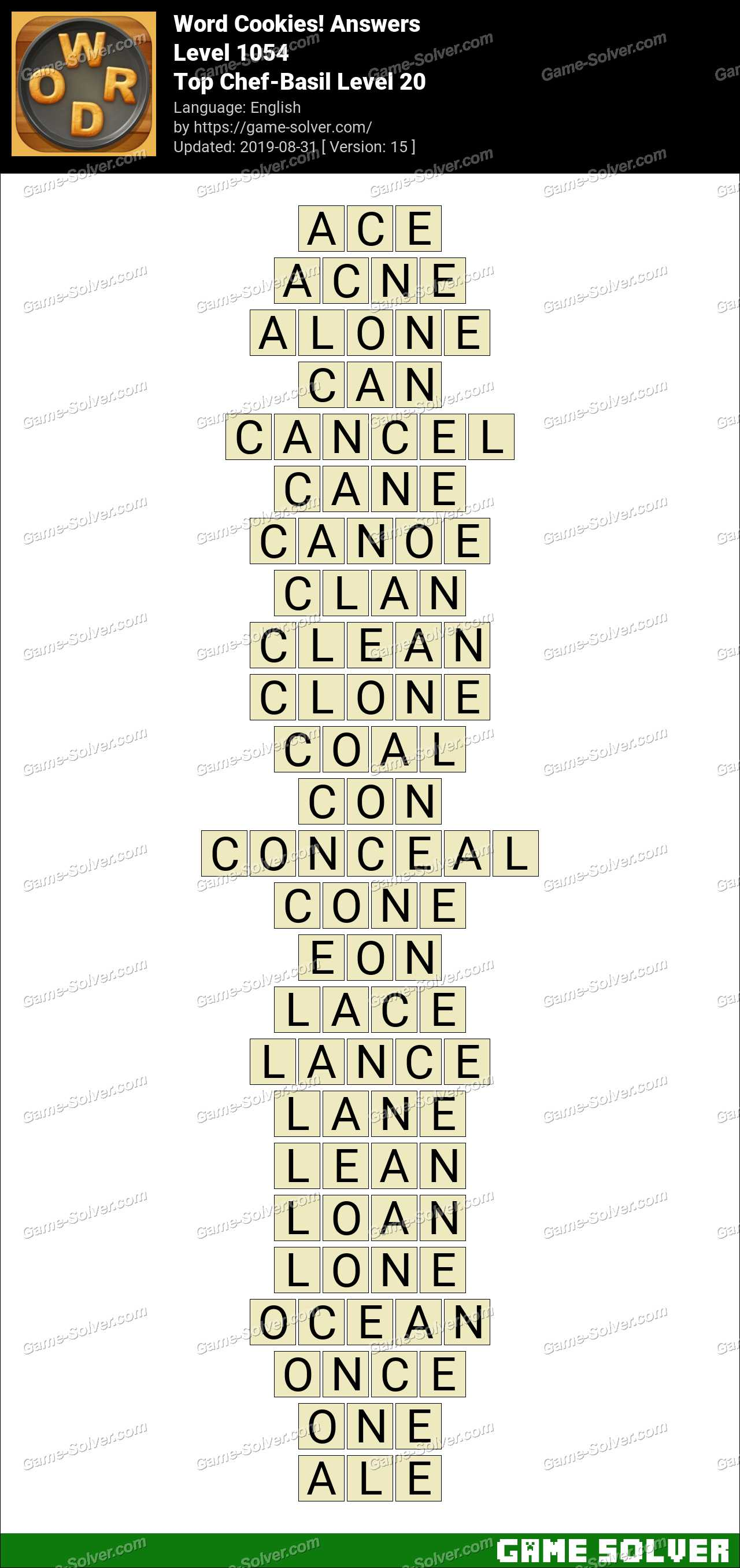 Word Cookies Top Chef-Basil Level 20 Answers