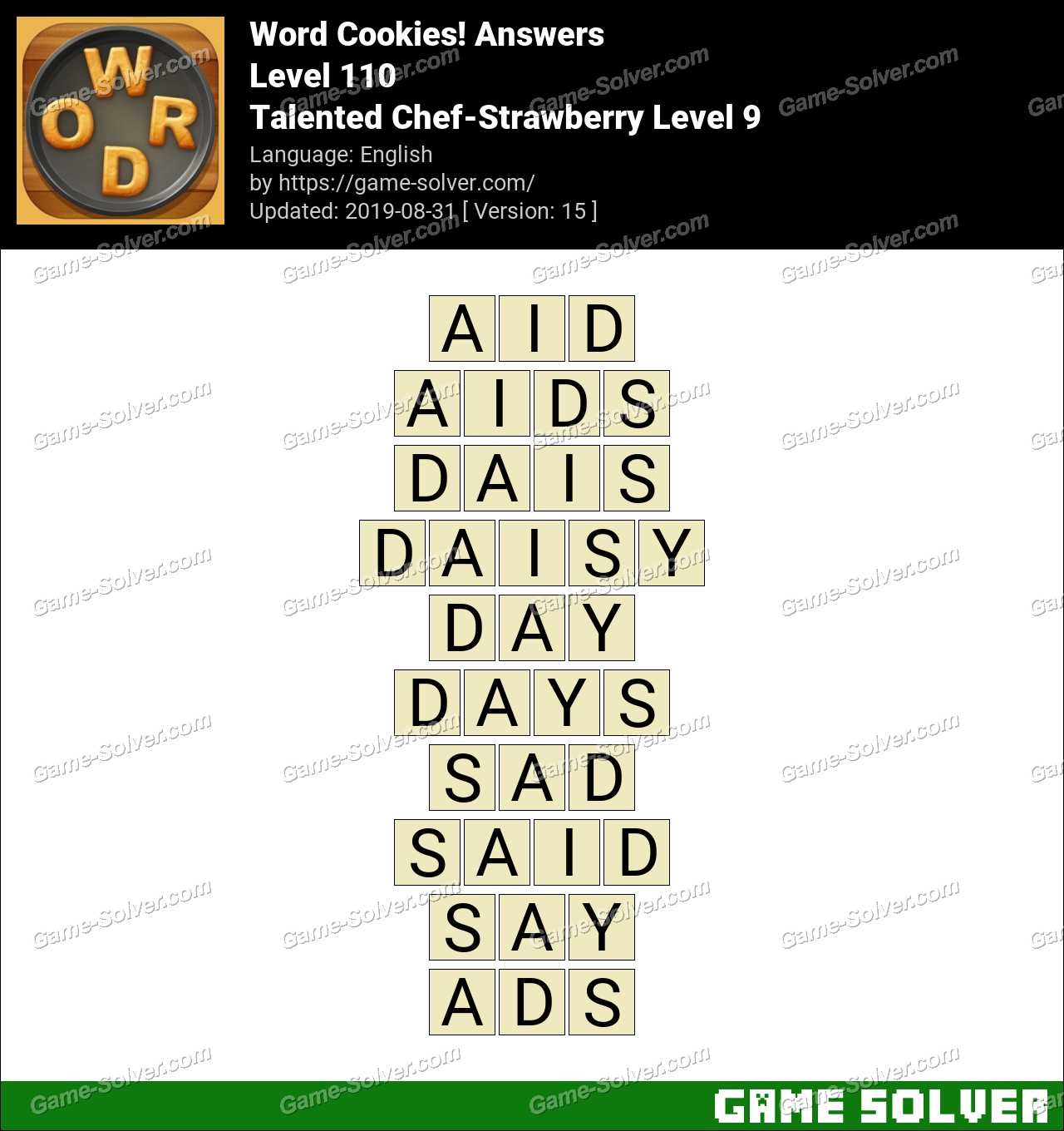 Word Cookies Talented Chef-Strawberry Level 9 Answers
