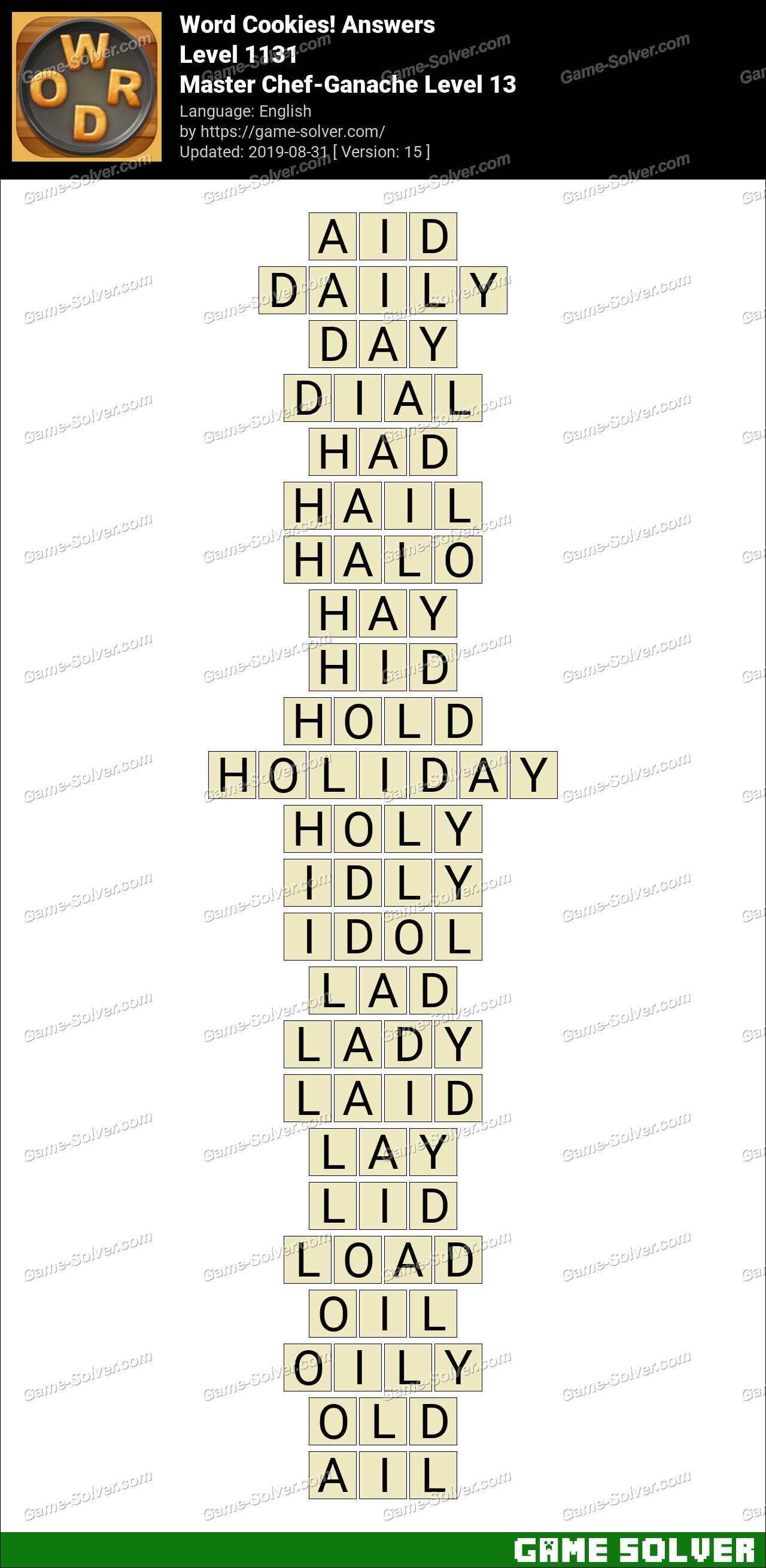 Word Cookies Master Chef-Ganache Level 13 Answers