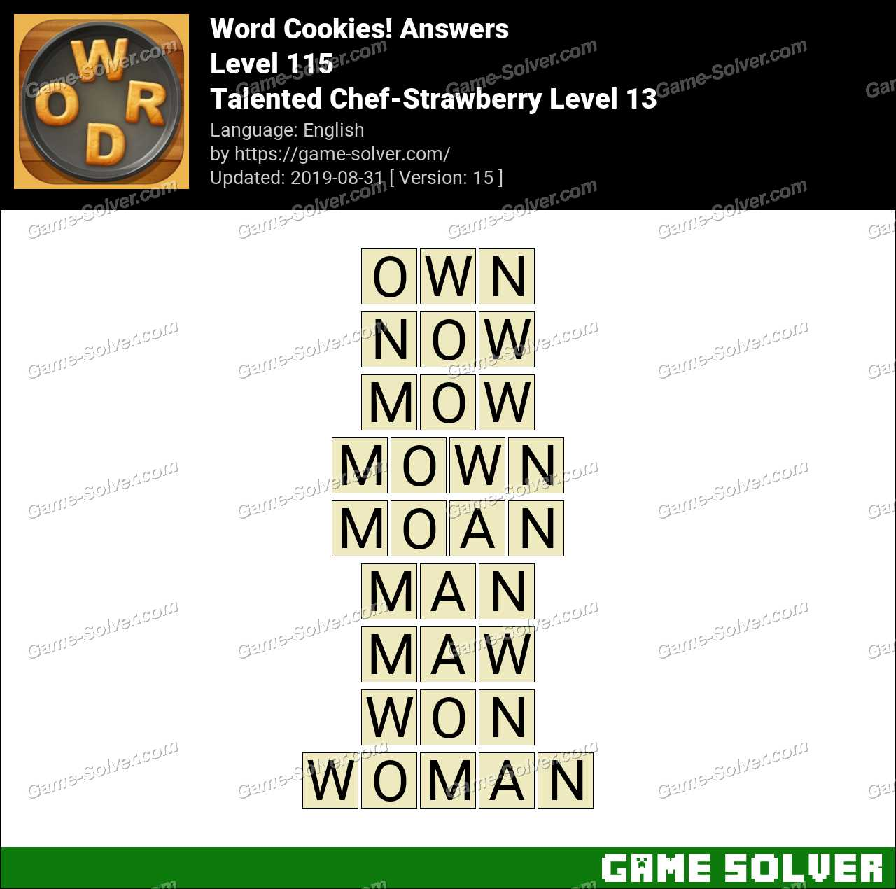 Word Cookies Talented Chef-Strawberry Level 13 Answers