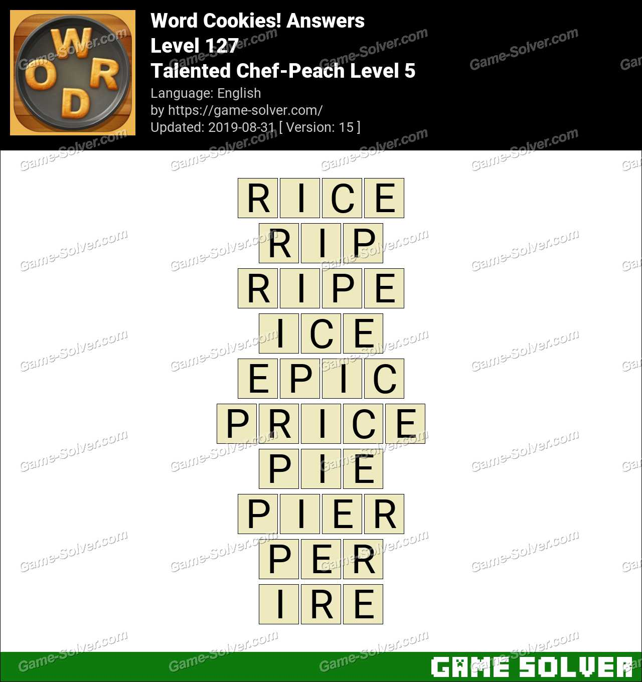 Word Cookies Talented Chef-Peach Level 5 Answers