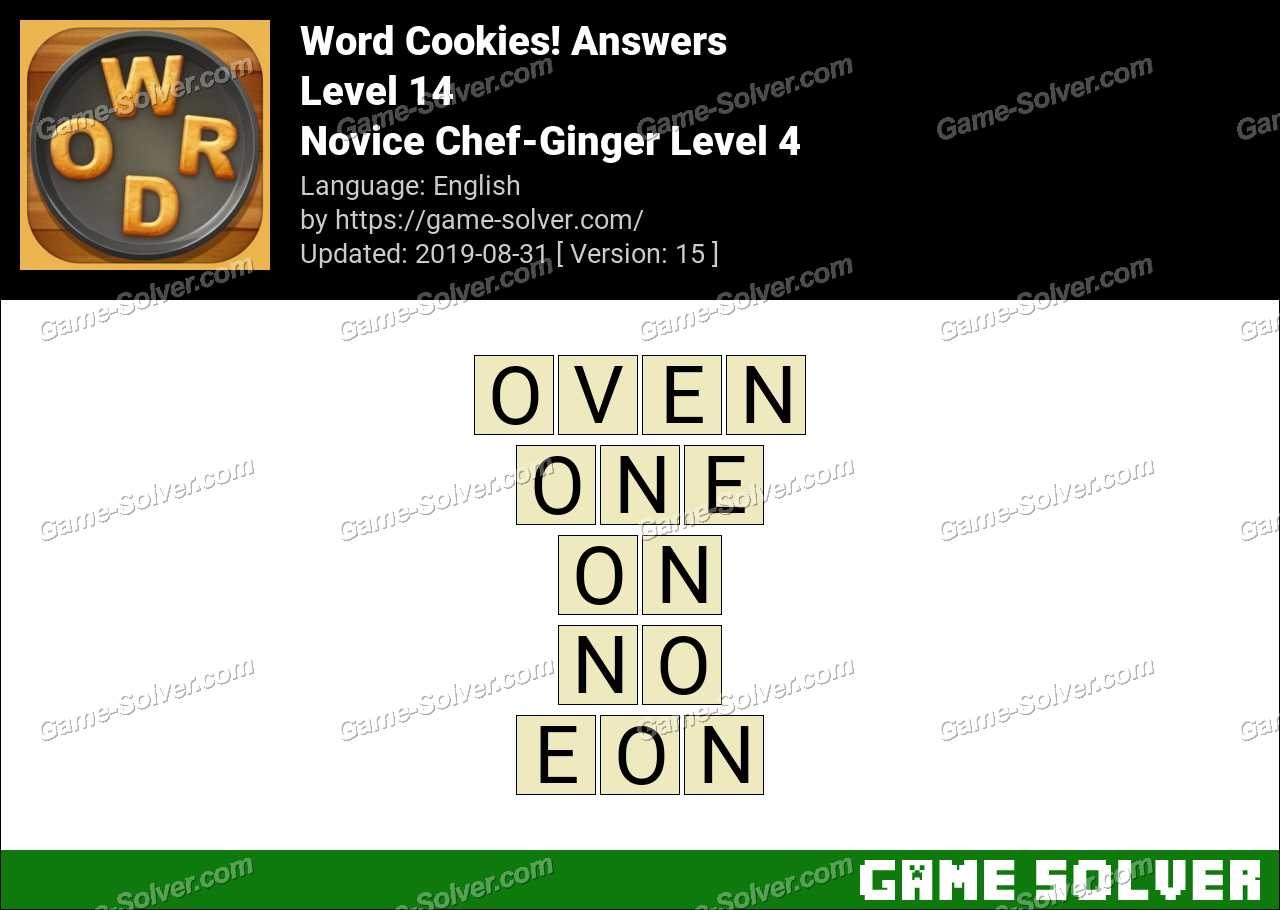 Word Cookies Novice Chef-Ginger Level 4 Answers