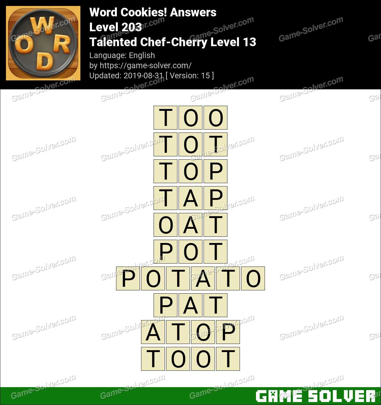 Word Cookies Talented Chef-Cherry Level 13 Answers