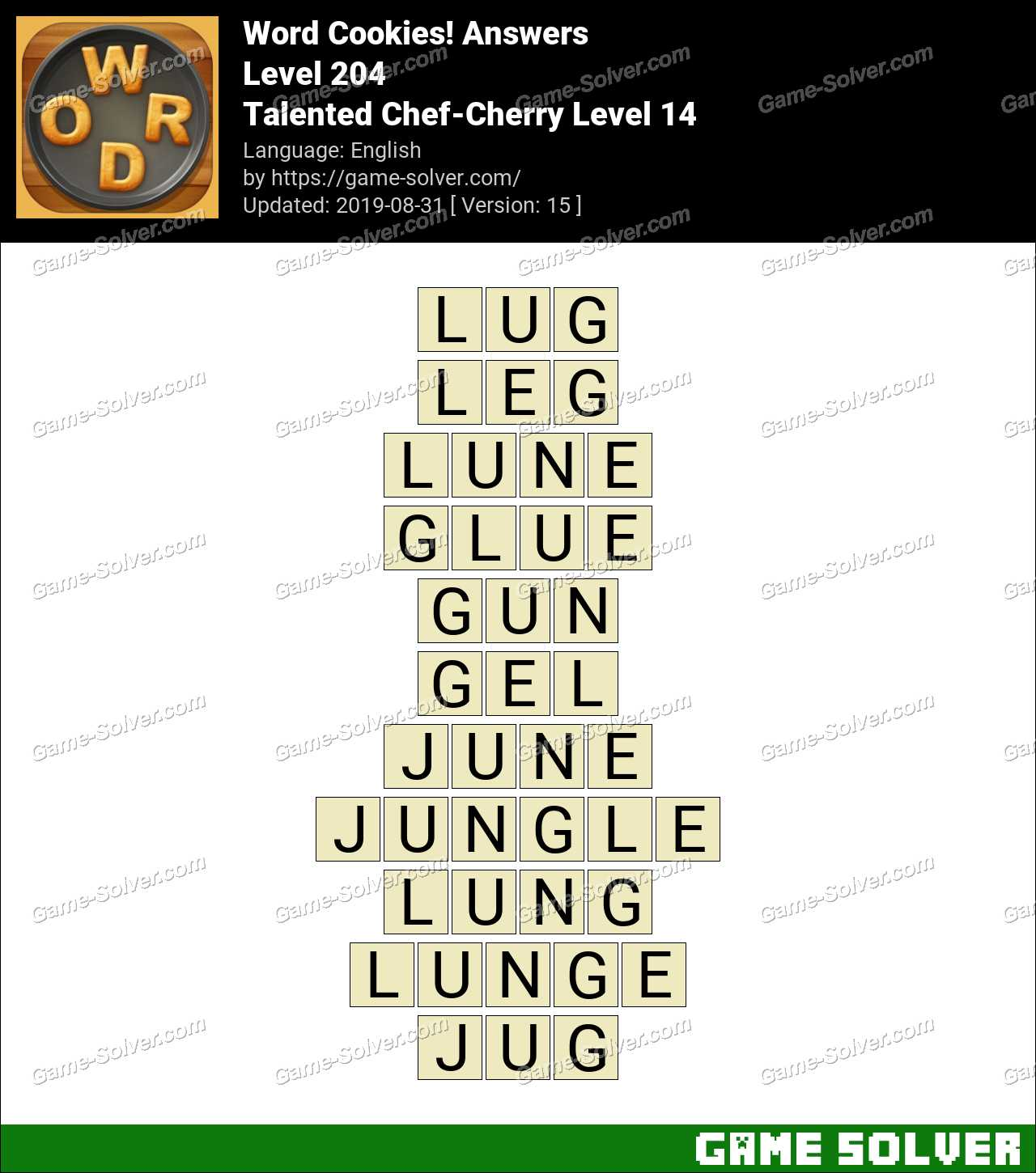 Word Cookies Talented Chef-Cherry Level 14 Answers