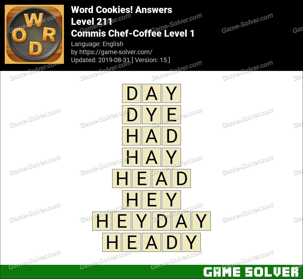 Word Cookies Commis Chef-Coffee Level 1 Answers - Game Solver