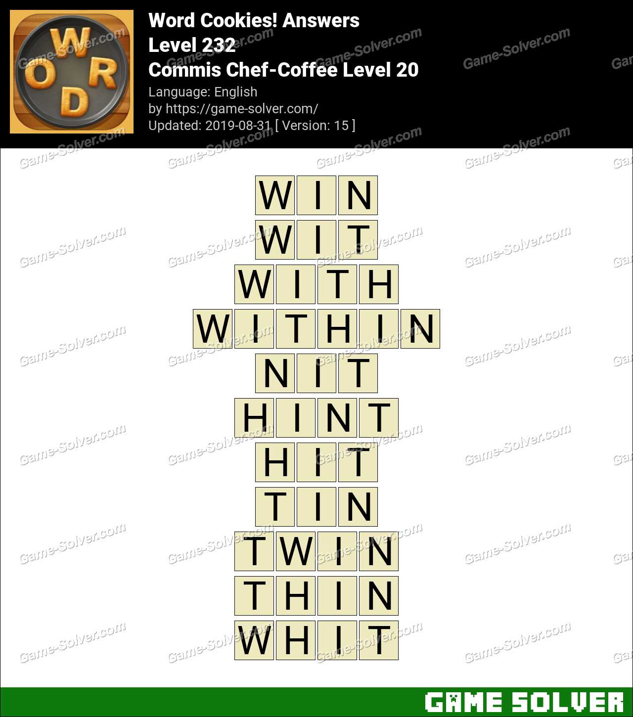 Word Cookies Commis Chef-Coffee Level 20 Answers