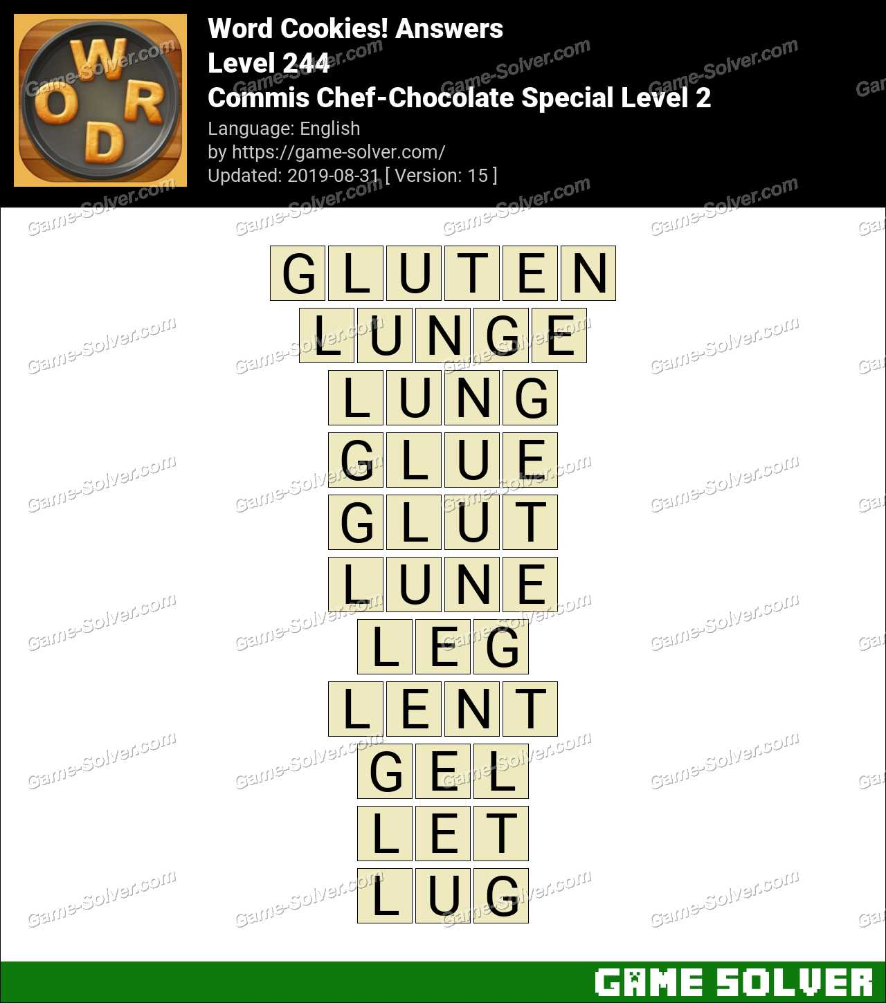 Word Cookies Commis Chef-Chocolate Special Level 2 Answers
