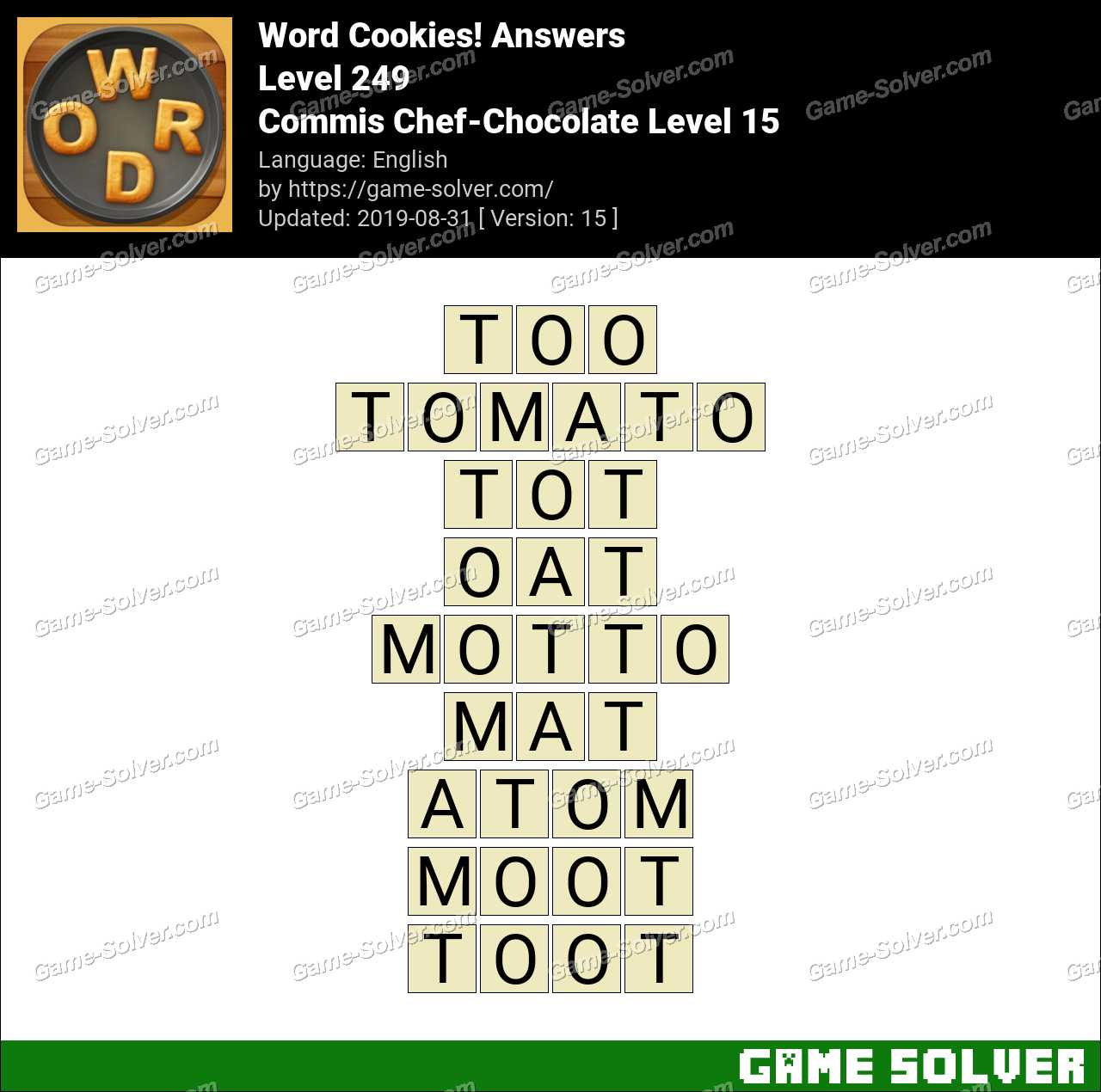 Word Cookies Commis Chef-Chocolate Level 15 Answers