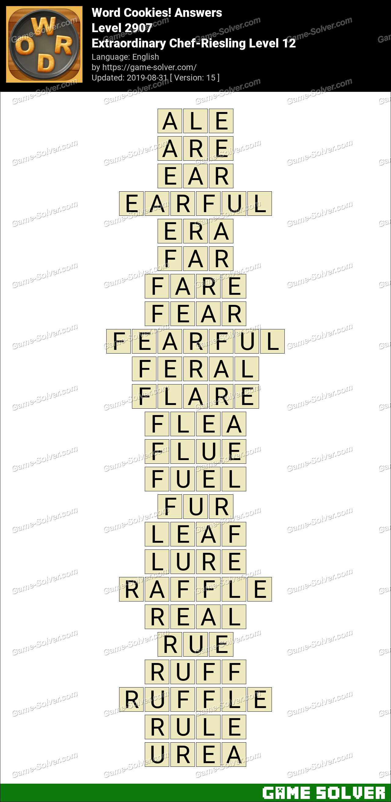 Word Cookies Extraordinary Chef-Riesling Level 12 Answers