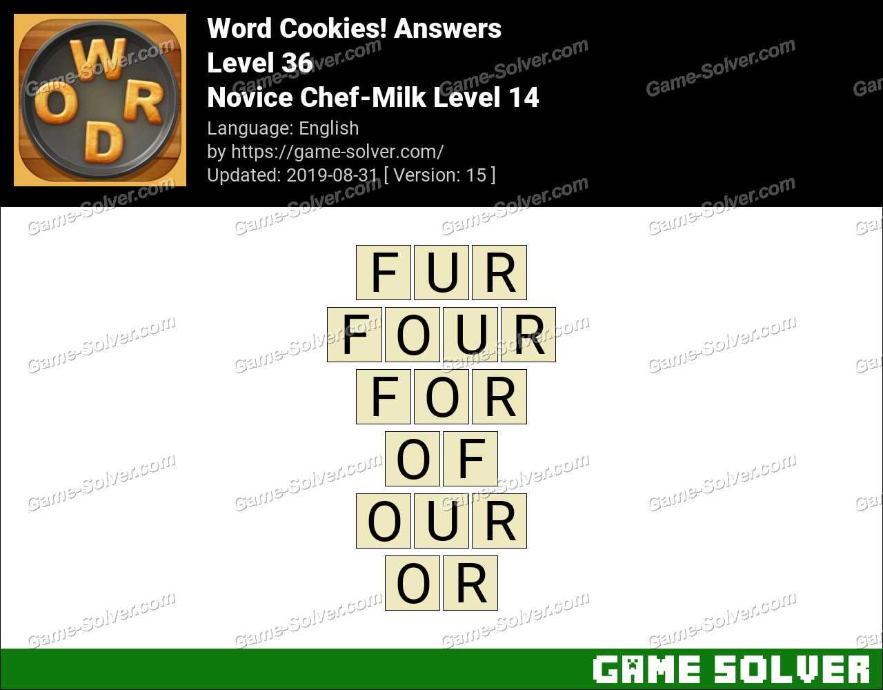 Word Cookies Novice Chef-Milk Level 14 Answers