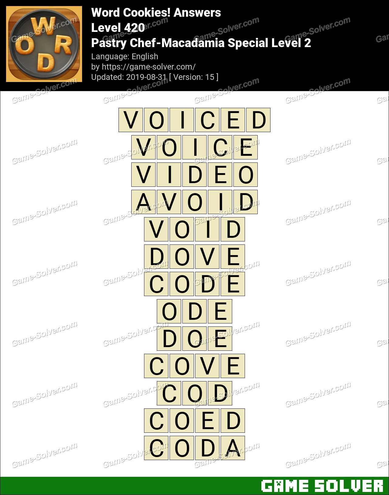 Word Cookies Pastry Chef-Macadamia Special Level 2 Answers