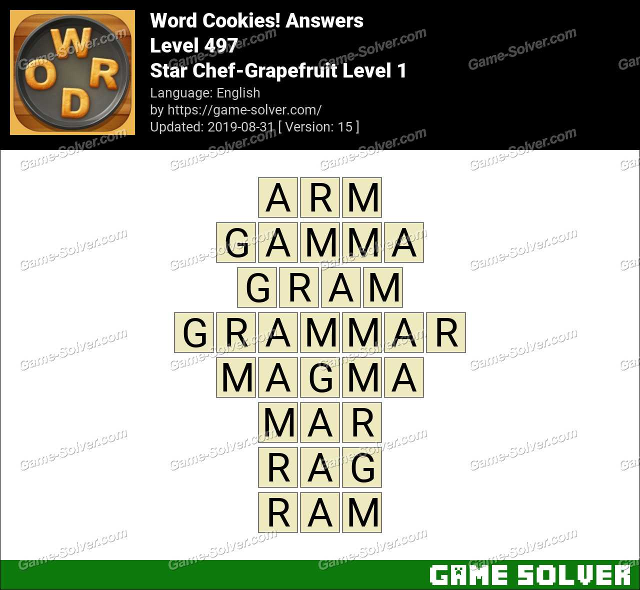 Word Cookies Star Chef-Grapefruit Level 1 Answers