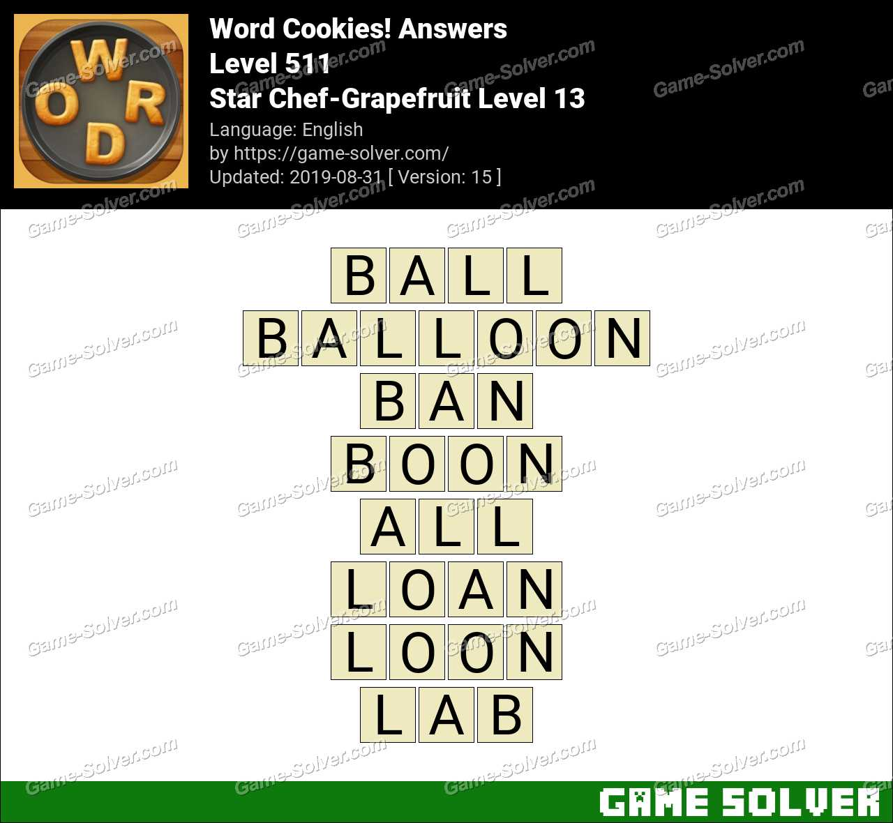 Word Cookies Star Chef-Grapefruit Level 13 Answers
