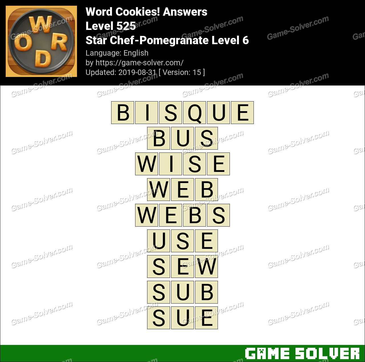 Word Cookies Star Chef-Pomegranate Level 6 Answers