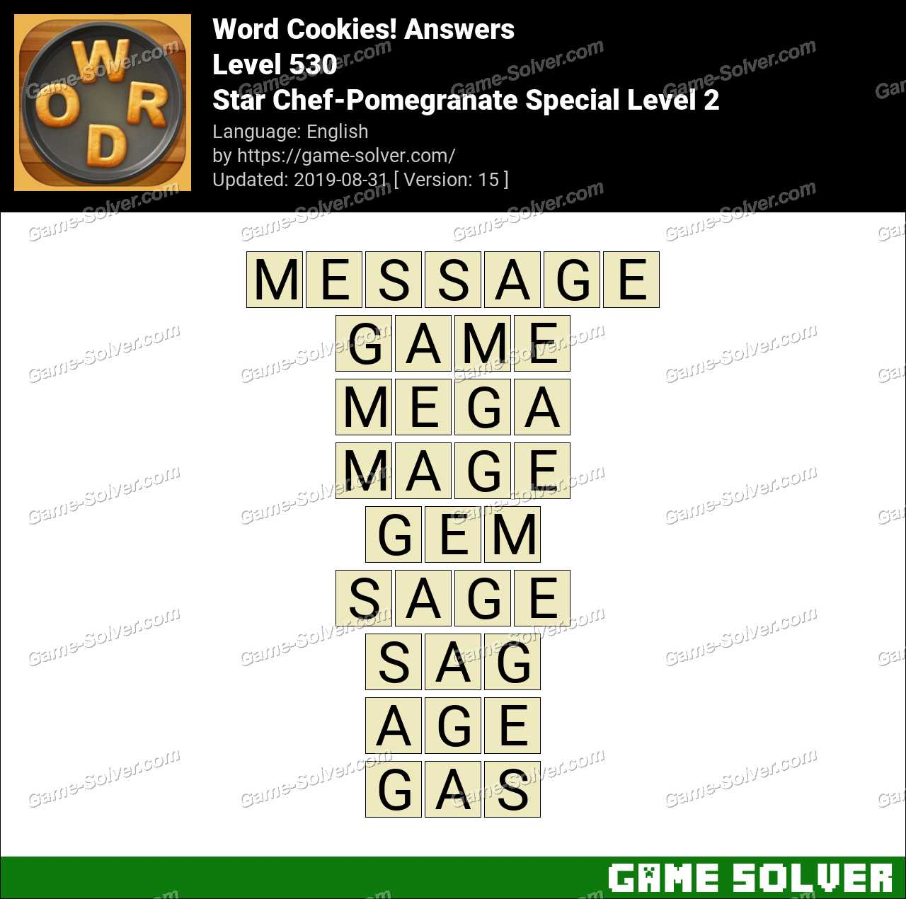 Word Cookies Star Chef-Pomegranate Special Level 2 Answers