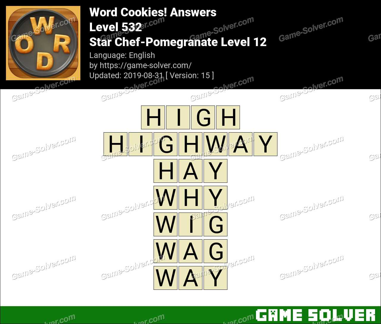 Word Cookies Star Chef-Pomegranate Level 12 Answers