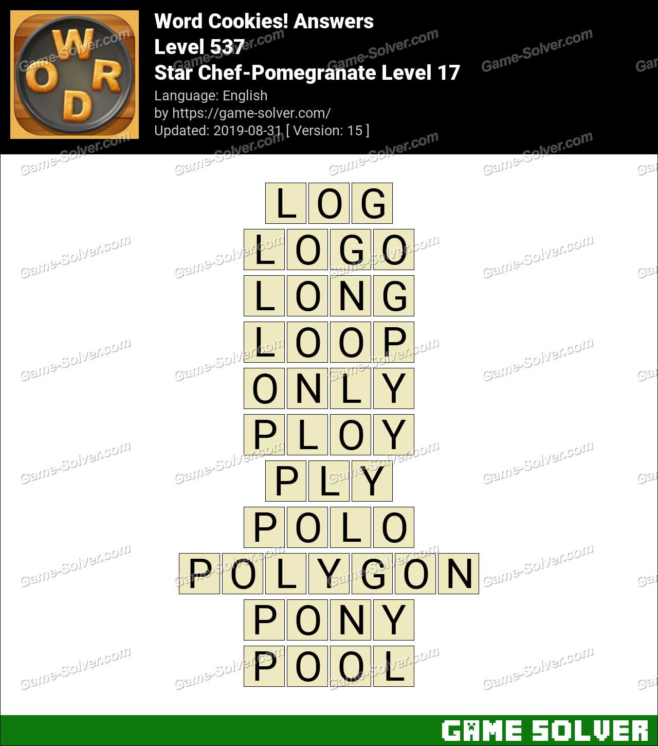 Word Cookies Star Chef-Pomegranate Level 17 Answers