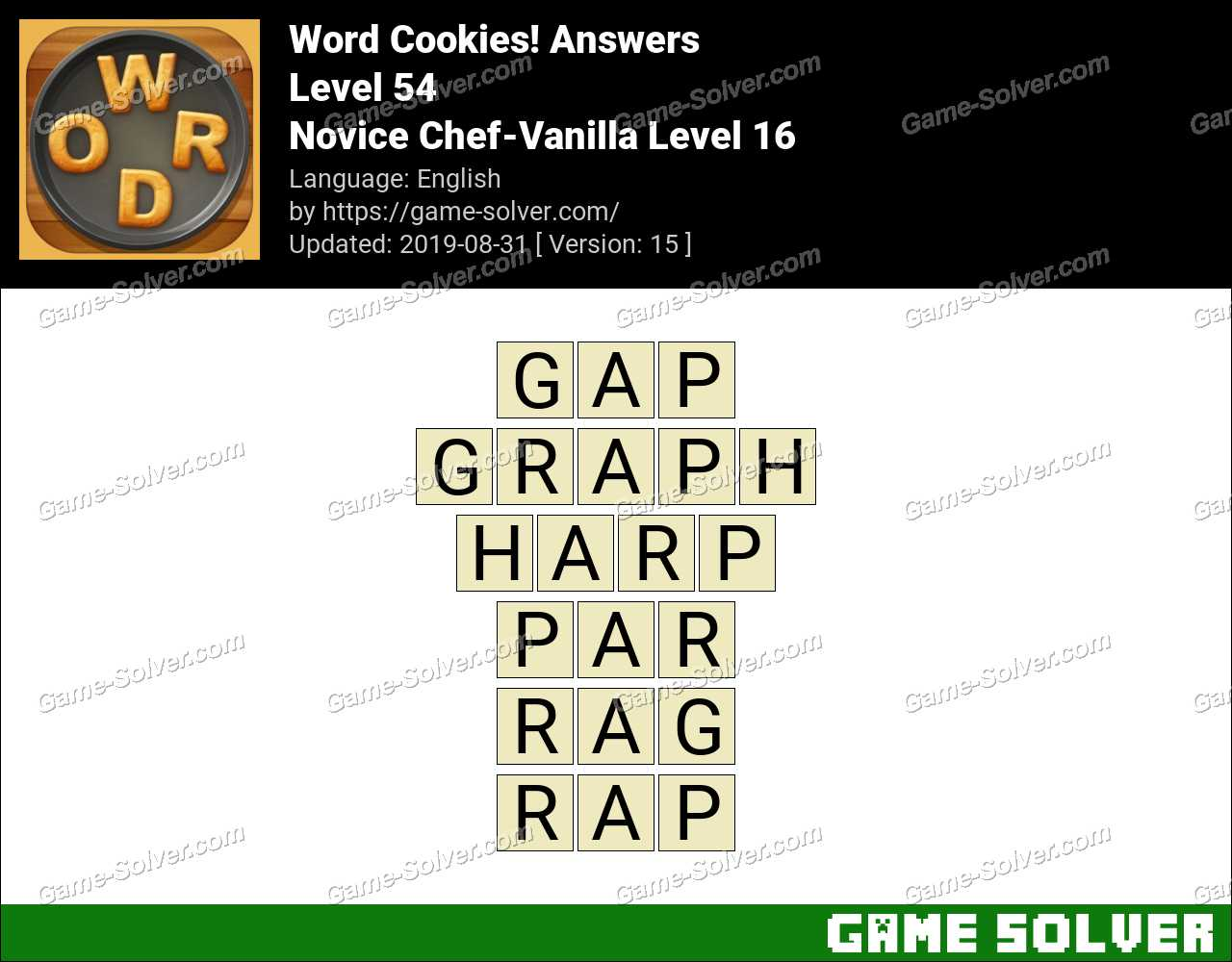 Word Cookies Novice Chef-Vanilla Level 16 Answers